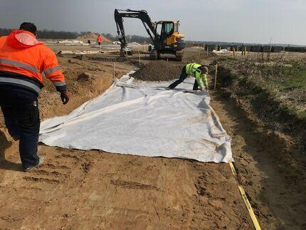 Baugrundstabilisierung mittels Geotextilien am Pommerndreieck